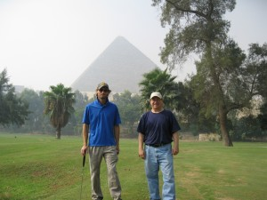 Me and Glen on the golf course by the Giza Pyramids