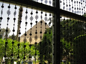 Looking at the Pyramids from the Mena House for lunch--echoes of colonialism?