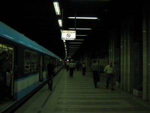 Anwar Sadat Metro station underneath Tahrir Squre-the main transfer point for the subway