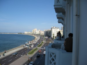 My hotel room balcony in Alexandria along the Cornische