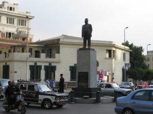 Statue in Midan Muhammad Naguib (looking away from undeground Metro station)