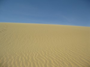The expanse of sand