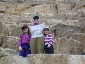 Katie and the girls climbing up the Giza Pyramids
