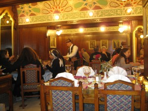 In the famous Naguib Mafouz restaurant in the bazzar