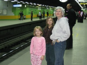 "Katie and the girls waiting to get on the ""women only"" train car at Sadat Metro Station"