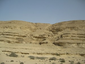 Looking up the Canyon to the plain of Sahara Desert