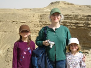 Ivy, Katie and Maya on the edge of the canyon in Wadi Digla