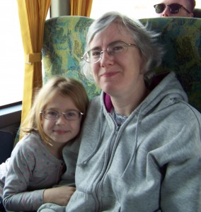Maya and Katie on the Bus