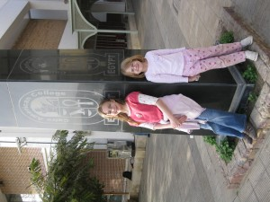 Ivy and Maya in front of CAC Obelisk