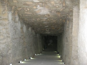 Hallway and stairs in ancient library