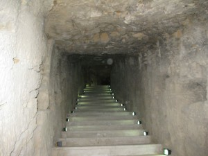 Stairway in ancient library
