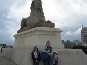Katie and the girls in front of Sphinx