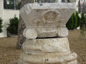 Greek column with Christian symbol added later in Alexandria