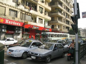 Hardees and KFC across from AUC Tahrir