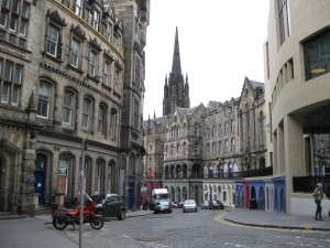 Picturesque Street Scene in downtown Edinburgh