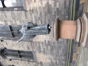 Statue of Protestant reformer John Knox in square of theology school at Edingburgh University
